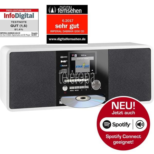 DABMAN i200 CD Internet & DAB+ Stereo Radio, Spotify Connect