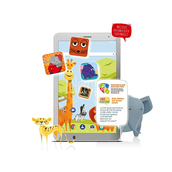 AXDIA Odys Junior 8 PRO (Tablet, 2GB RAM, 16GB Speicher, Wi-Fi, Android 8.1, Kinder Sicherung) Bild 1
