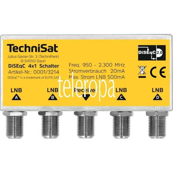 DiSEqC 4x1 Schalter (4 Sat-Positionen für 1 Teilnehmer, Wetterschutzgehäuse für Mastmontage, Geringe