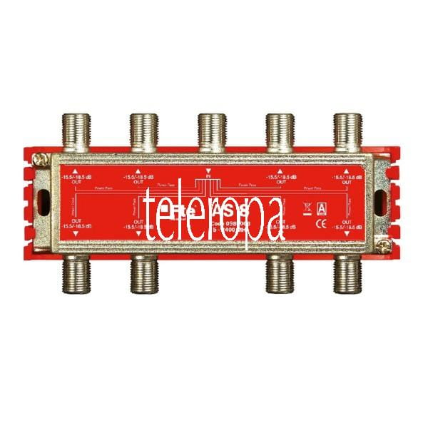AS 8 TV-Signal Verteiler (Breitbandverteiler, 8-Ausgänge, 5-2400 MHz, Classe A, F-Anschluss, Schirmu