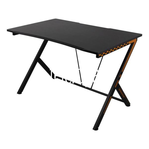 Gamer Schreibtisch Desk (Streaming, ESport, Büro Tisch, Metallbeine, PVC-Oberfläche, Headsetbügel, A